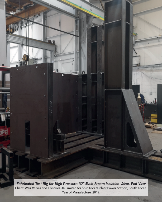 Fabricated Test Rig for High Pressure 32'' Main Steam Isolation Valve. End View. Installed 2019