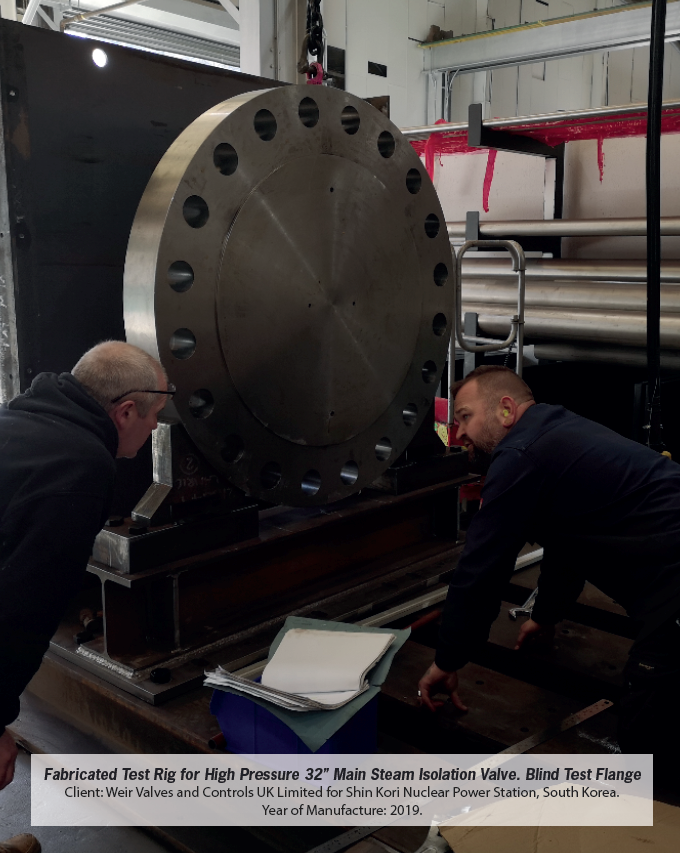 Fabricated Test Rid for High Pressure 32'' Main Steam Isolation Valve. Blind Test Flange. Installed 2019